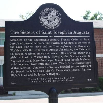 The Sisters of Saint Joseph In Augusta Marker image. Click for full size.