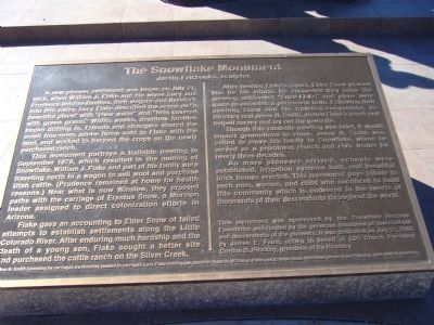 The Snowflake Monument Marker image. Click for full size.