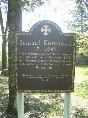 Samuel Kercheval Marker image. Click for full size.