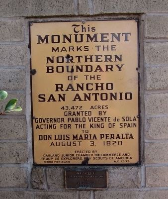 Ranchos San Pablo and San Antonio Boundary Monument Marker - North-facing side image. Click for full size.