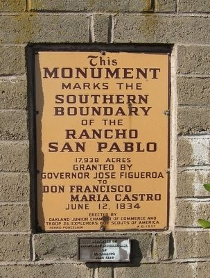 Ranchos San Pablo and San Antonio Boundary Monument Marker - South-facing side image. Click for full size.