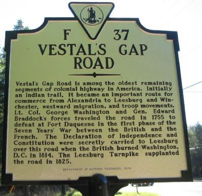 Vestal's Gap Road Marker image. Click for full size.