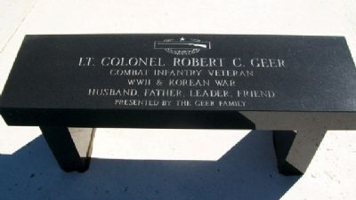 Lt Col Robert C. Geer Bench image. Click for full size.