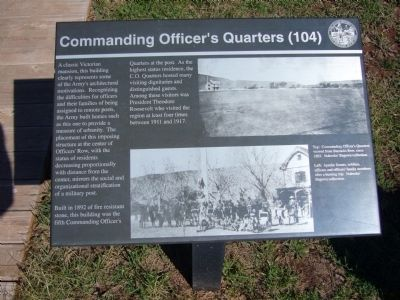 Commanding Officers' Quarters (104) Marker image. Click for full size.