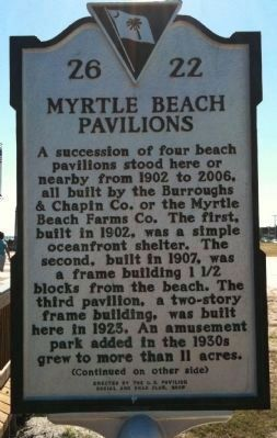 Myrtle Beach Pavilions Marker (front) image. Click for full size.
