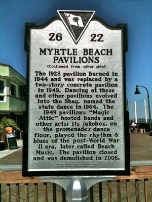 Myrtle Beach Pavilions Marker (reverse) image. Click for full size.