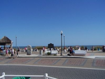City of Rehoboth Beach Marker, at the boardwalk at Rehoboth Ave. image. Click for full size.
