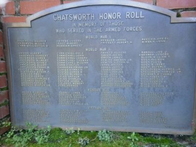 Chatsworth Honor Roll Marker image. Click for full size.