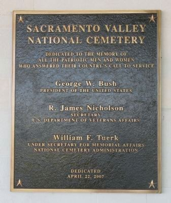 Sacramento Valley National Cemetery Marker image. Click for full size.