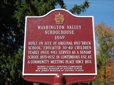 Washington Valley Schoolhouse Marker image. Click for full size.
