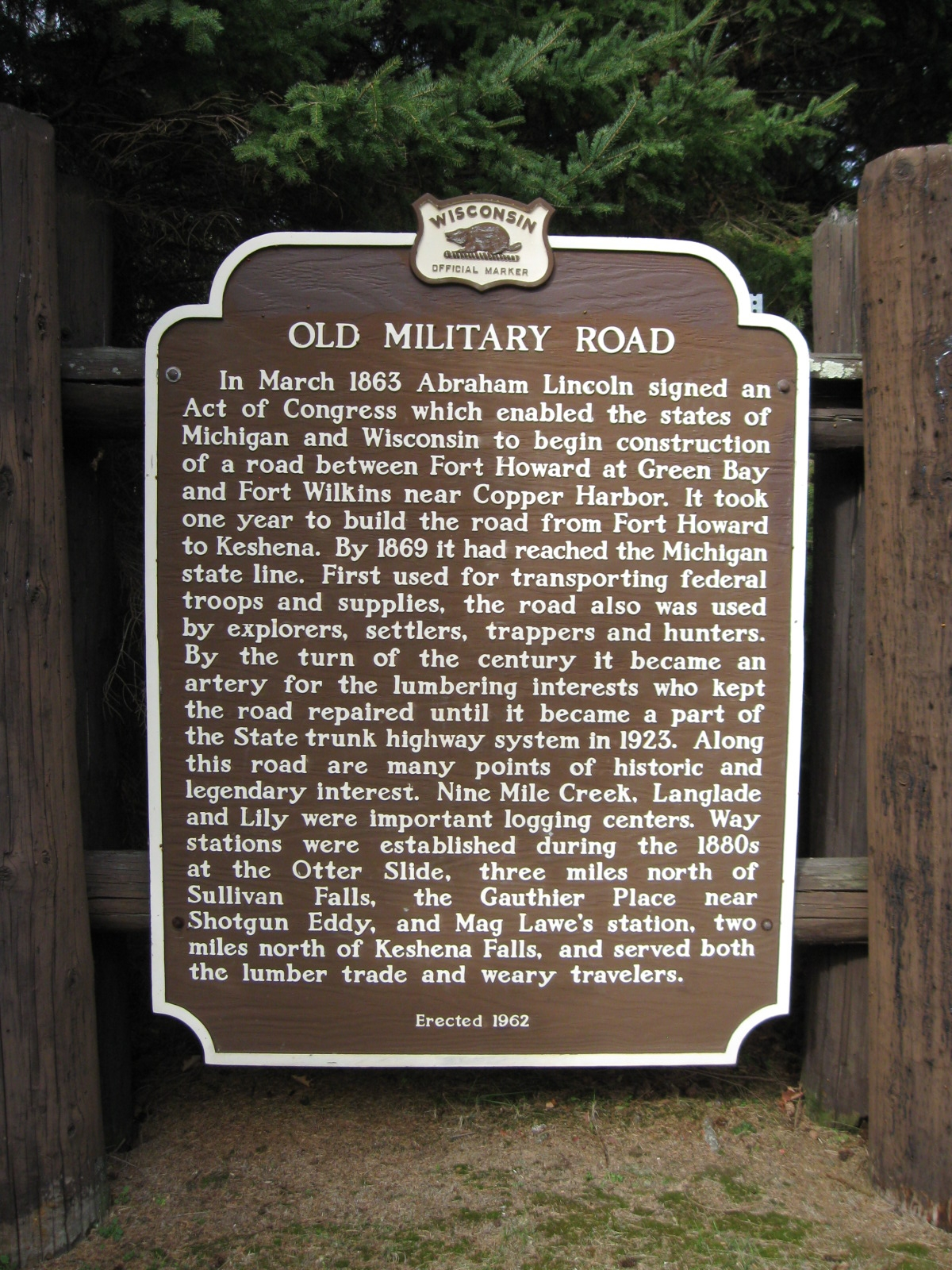 Old Military Road Marker