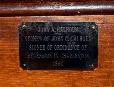 Trinity Episcopal Church Member Plaque -<br>John A. Calhoun image. Click for full size.