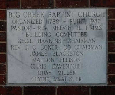 Current Big Creek Baptist Church Cornerstone image. Click for full size.