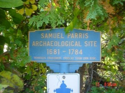 Samuel Parris Archaeological Site Marker image. Click for full size.