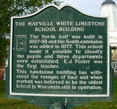 The Mayville White Limestone School Building Marker image. Click for full size.