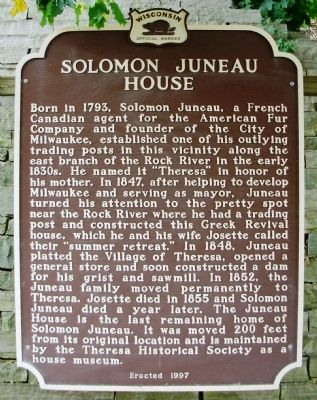 Solomon Juneau House Marker image. Click for full size.