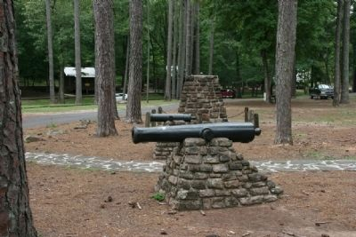 Tannehill Furnaces Marker next to the two cannons image. Click for full size.