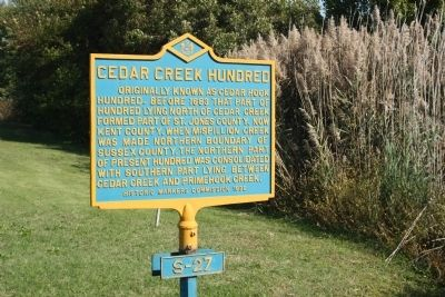 Cedar Creek Hundred Marker image. Click for full size.