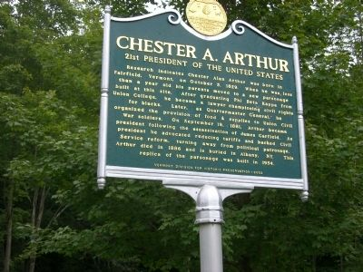 Chester A. Arthur Marker image. Click for full size.