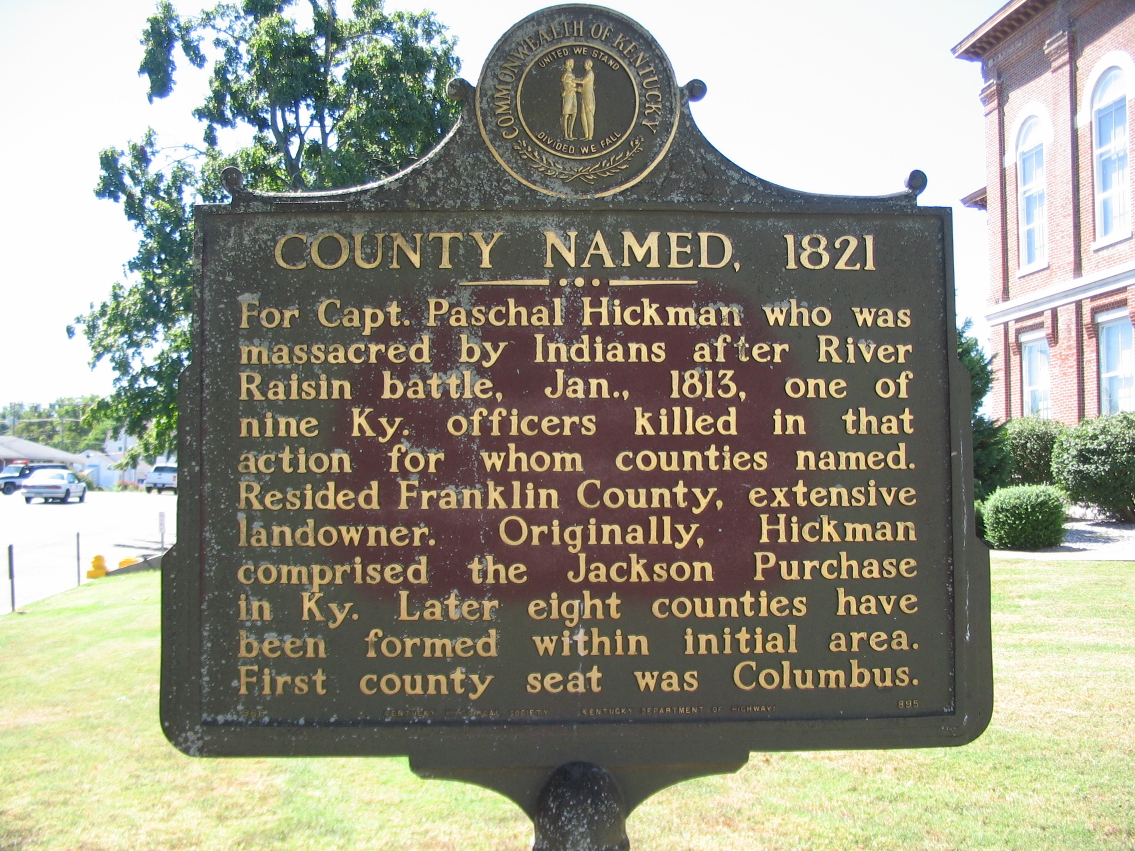 County Named, 1821 Marker