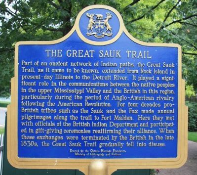 The Great Sauk Trail Marker image. Click for full size.
