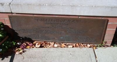 "Vermilion Street - - ""Temple Plaza"" Plaque image. Click for full size."