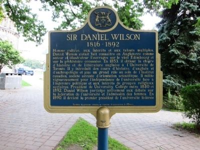 Sir Daniel Wilson Marker - French (north-facing) side image. Click for full size.