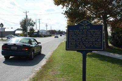 Lewes Marker, looking south along Savannah Road (US 9) image. Click for full size.