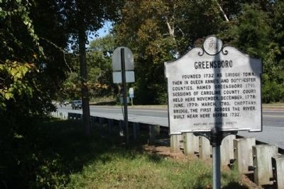 Greensboro Marker, seen at MD 313, northbound image. Click for full size.