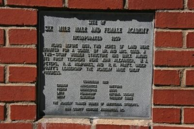 Site of Six Mile Male And Female Academy Marker image. Click for full size.
