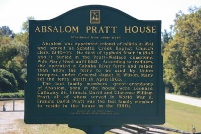 Absalom Pratt House Marker Side B image, Touch for more information