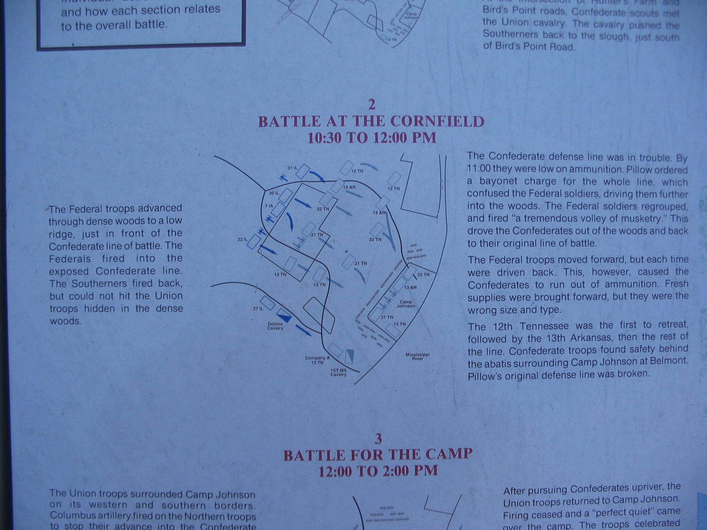 Map of the Cornfield Fighting - 10:30 to 12:00 pm