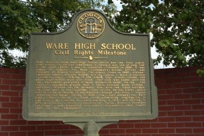 Ware High School Marker image. Click for full size.
