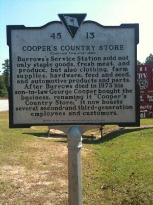 Cooper's Country Store Marker (reverse) image. Click for full size.