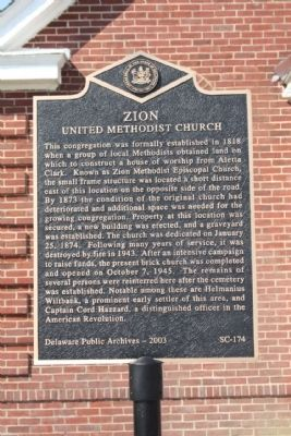 Zion United Methodist Marker image. Click for full size.