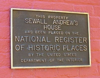 National Register Marker on Sewall Andrews' House image. Click for full size.