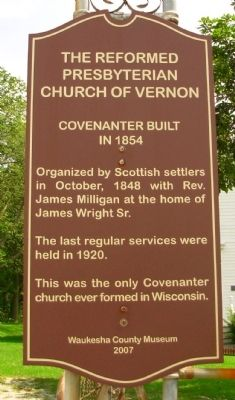 The Reformed Presbyterian Church of Vernon Marker image. Click for full size.