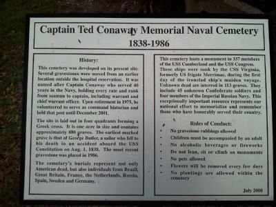 Captain Ted Conaway Memorial Naval Cemetery 1838-1986 Marker image. Click for full size.
