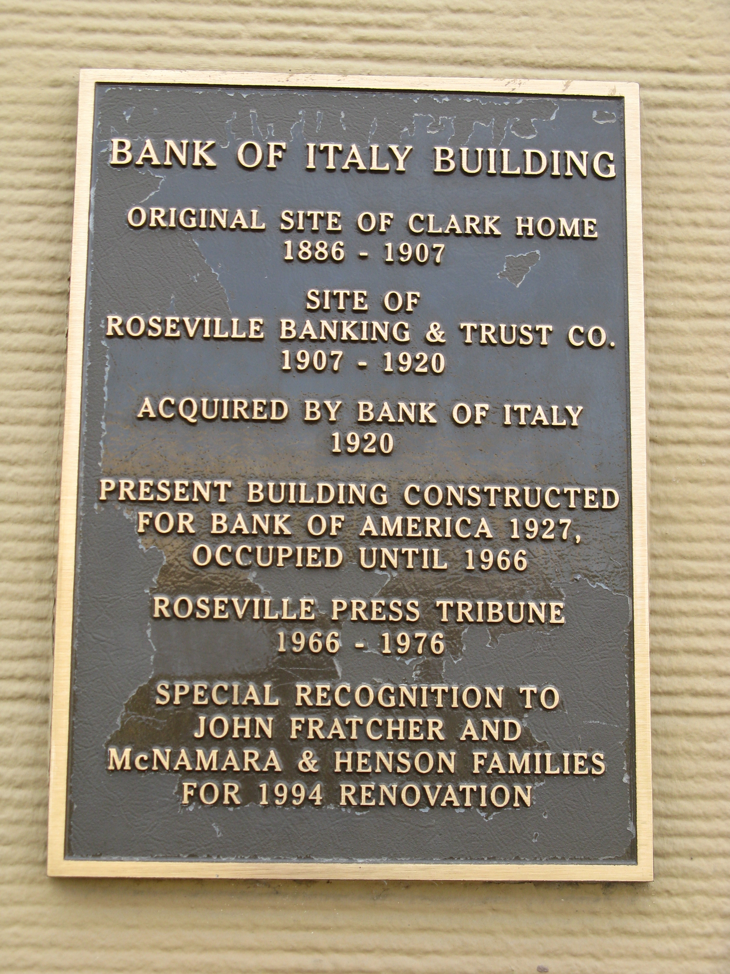 Bank of Italy Building Marker