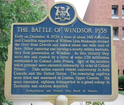 The Battle of Windsor - 1838 Marker image. Click for full size.