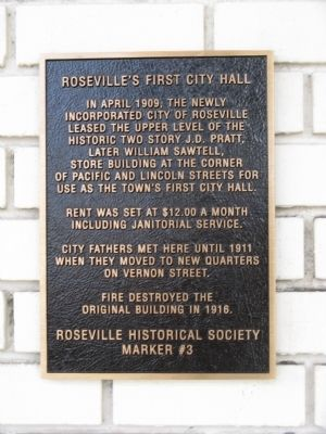 Roseville's First City Hall Marker image. Click for full size.