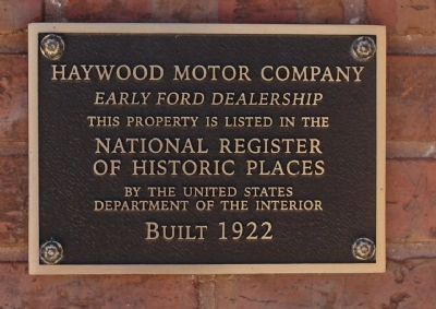 Haywood Motor Company Marker image. Click for full size.