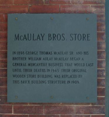 McAulay Bros. Store Marker image. Click for full size.
