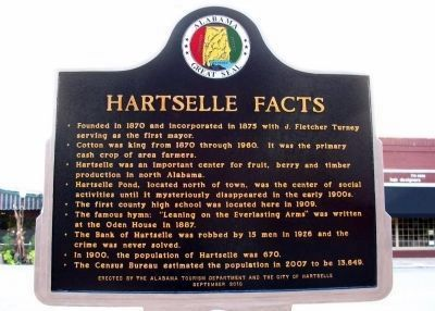 Hartselle Facts (Rear Side of Marker) image. Click for full size.