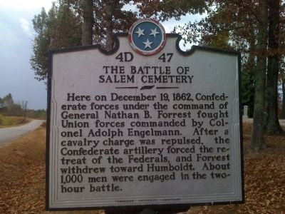 The Battle of Salem Cemetery Marker image. Click for full size.
