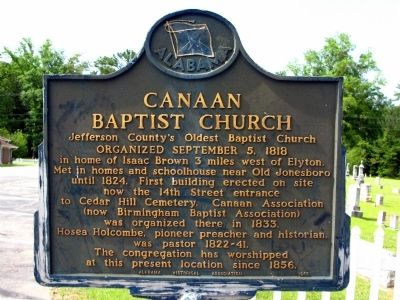 Canaan Baptist Church Marker image. Click for full size.