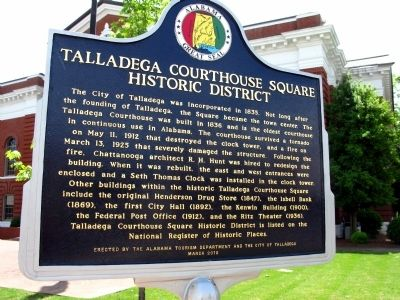 Talladega Courthouse Square Historic District Marker image. Click for full size.