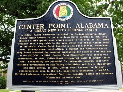 Center Point, Alabama Marker image. Click for full size.