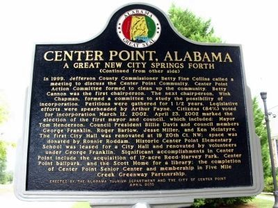 "Reverse Side of Marker - ""Center Point, AL"" image. Click for full size."