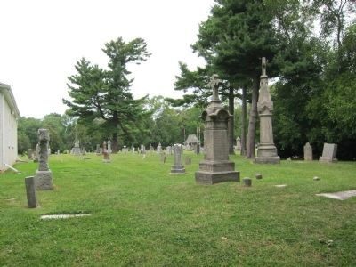 View of St. Vincent de Paul cemetery - behind church, as seen from Picton St. image. Click for full size.